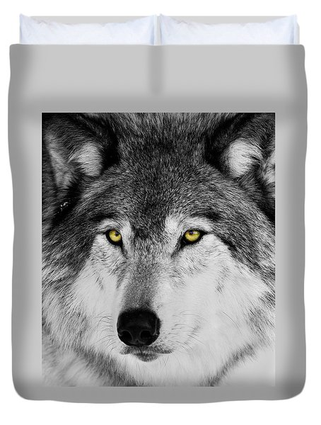 Duvet Cover featuring the photograph The Alpha Portrait by Mircea Costina Photography