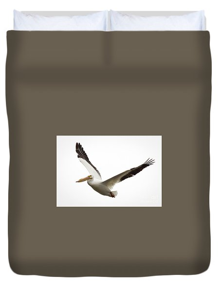 The Amazing American White Pelican Duvet Cover by Ricky L Jones