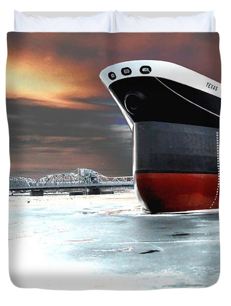 The Ship And The Steel Bridge. Duvet Cover