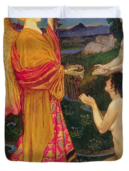 The Angel Offering The Fruits Of The Garden Of Eden To Adam And Eve Duvet Cover by JBL Shaw