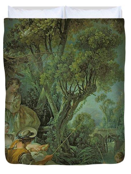 The Angler Duvet Cover by Francois Boucher