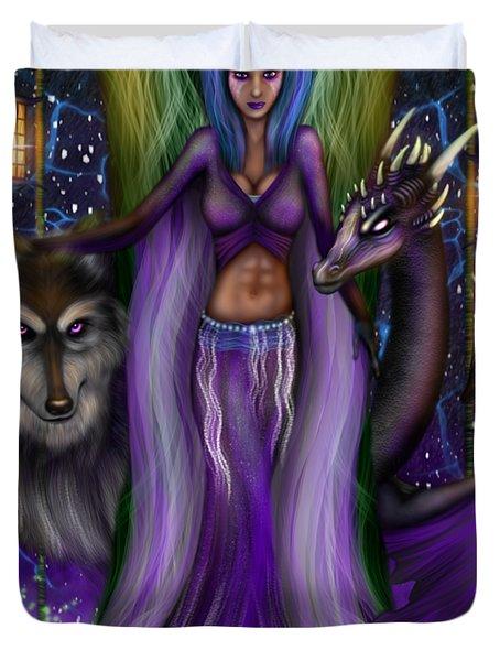 The Animal Goddess Fantasy Art Duvet Cover