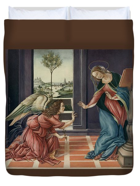 The Annunciation After Botticelli Duvet Cover by Yvonne Wright