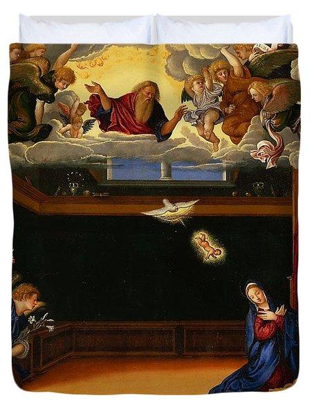 The Annunnciation Duvet Cover by Girolamo da Santacroce
