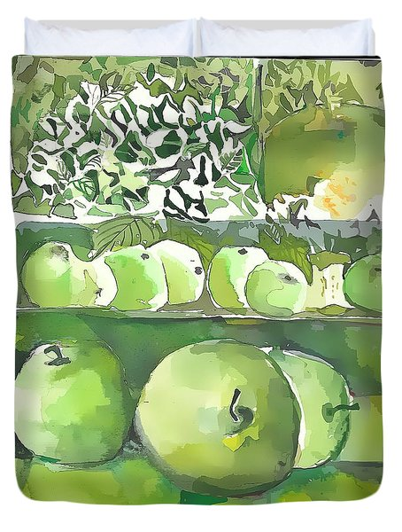 Duvet Cover featuring the painting The Apple Closet by Mindy Newman