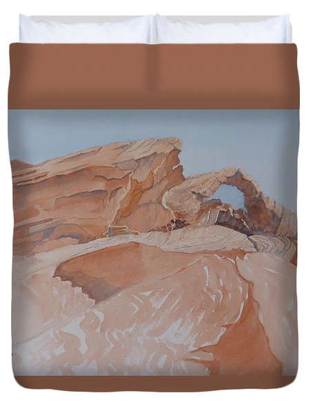 Duvet Cover featuring the painting The Arch Rock Experiment - Vii by Joel Deutsch