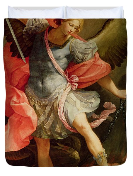 The Archangel Michael Defeating Satan Duvet Cover by Guido Reni