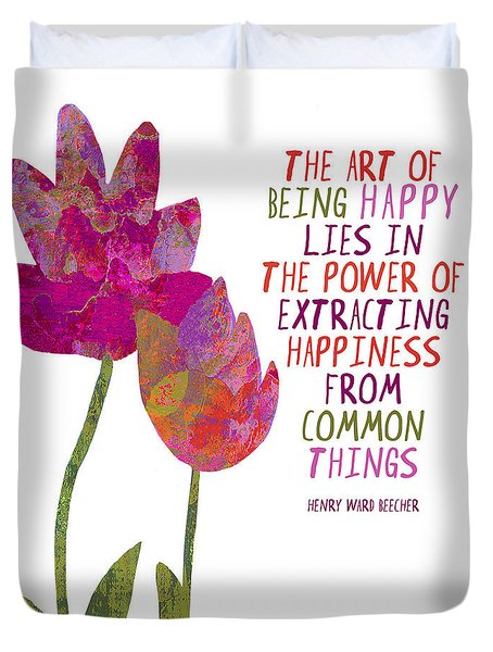 Duvet Cover featuring the painting The Art Of Being Happy by Lisa Weedn