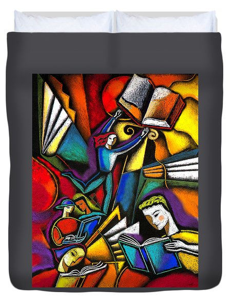 Duvet Cover featuring the painting The Art Of Learning by Leon Zernitsky