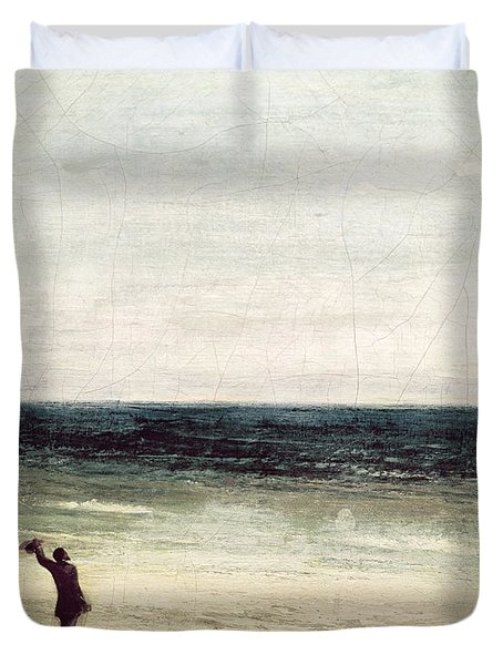 The Artist On The Seashore At Palavas Duvet Cover by Gustave Courbet