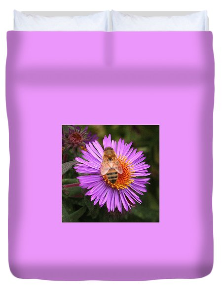 Duvet Cover featuring the photograph The Aster And The Bee by Laurel Talabere