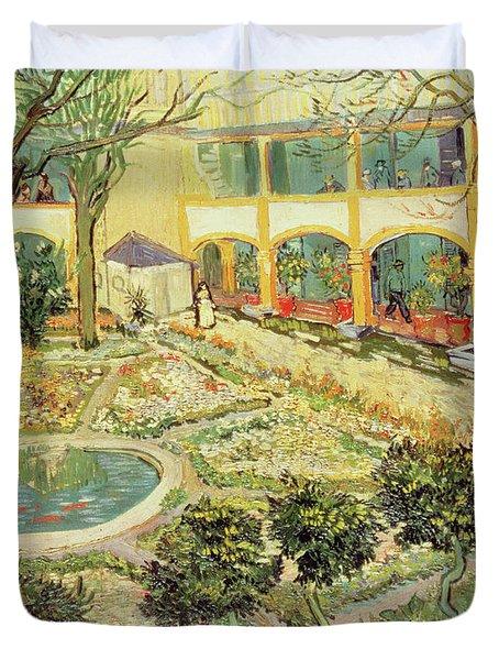 The Asylum Garden At Arles Duvet Cover by Vincent van Gogh
