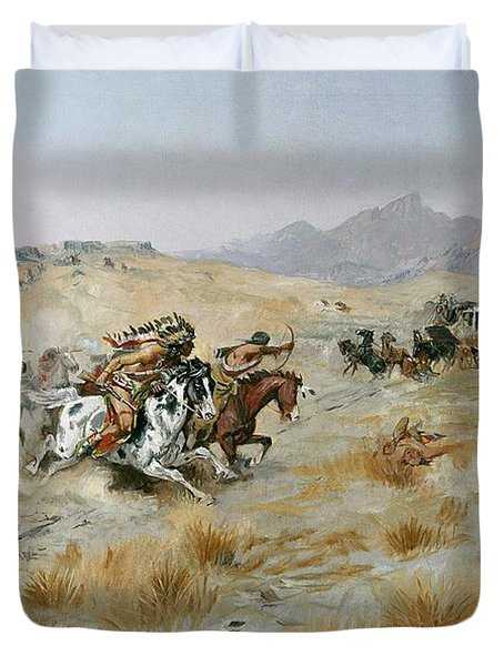 The Attack Duvet Cover by Charles Marion Russell