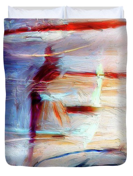 Duvet Cover featuring the painting The Auberge by Dominic Piperata