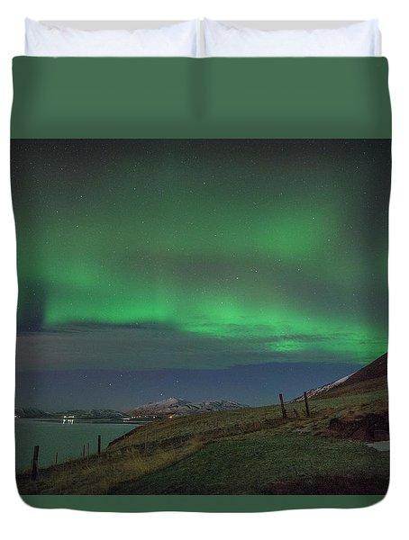 The Aurora Borealis Over Iceland Duvet Cover