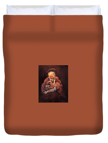 Duvet Cover featuring the painting The Baby Jesus - A Study by Donna Tucker