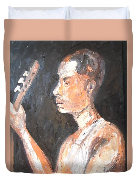 Duvet Cover featuring the painting The Baglama Player by Esther Newman-Cohen