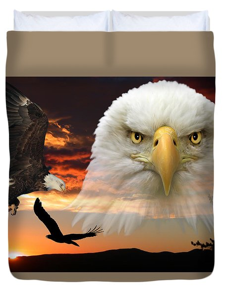 Duvet Cover featuring the photograph The Bald Eagle by Shane Bechler