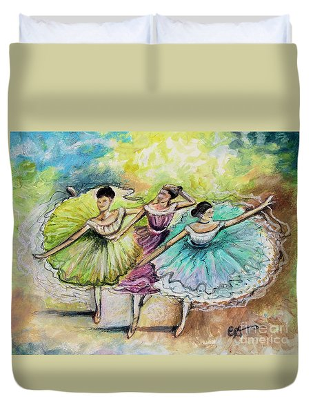 Duvet Cover featuring the painting The Ballerina Dancers by Elizabeth Robinette Tyndall