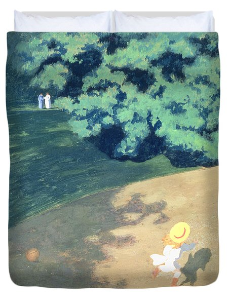 The Balloon Or Corner Of A Park With A Child Playing With A Balloon Duvet Cover by Felix Edouard Vallotton
