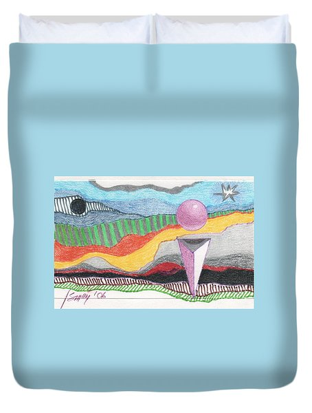 Duvet Cover featuring the drawing The Bannishment Of Evil by Rod Ismay
