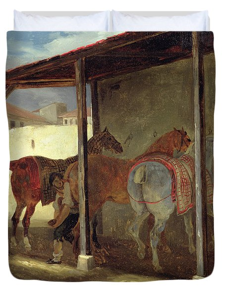 The Barn Of Marechal-ferrant Duvet Cover by Theodore Gericault