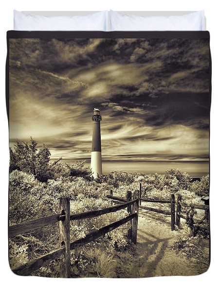 The Barnegat Lighthouse New Jersey Duvet Cover