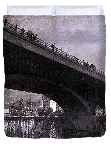 The Bat Bridge Night Austin Texas Duvet Cover