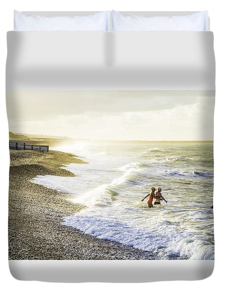 Duvet Cover featuring the photograph The Bathers by Russell Styles