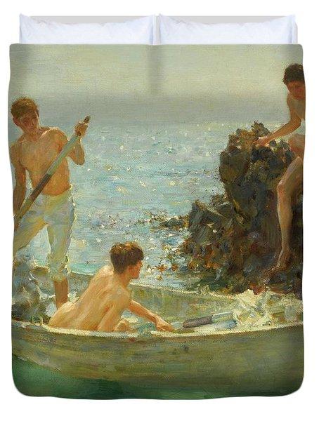 The Bathing Cove Duvet Cover by Henry Scott Tuke