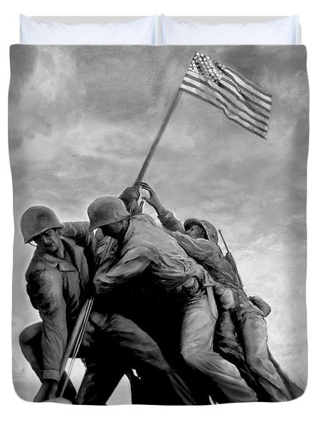 The Battle For Iwo Jima By Todd Krasovetz Duvet Cover by Todd Krasovetz