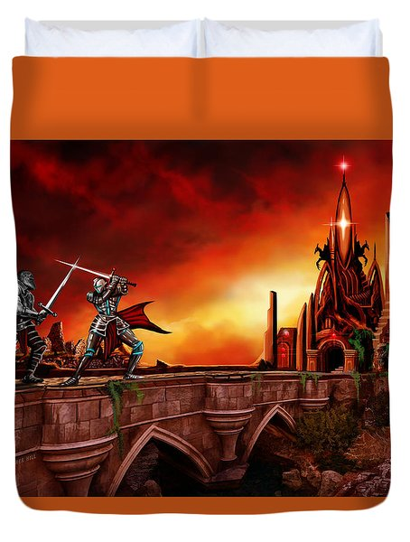 Duvet Cover featuring the painting The Battle For The Crystal Castle by James Christopher Hill