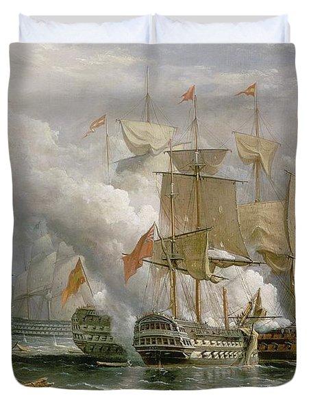 The Battle Of Cape St Vincent Duvet Cover by Richard Bridges Beechey
