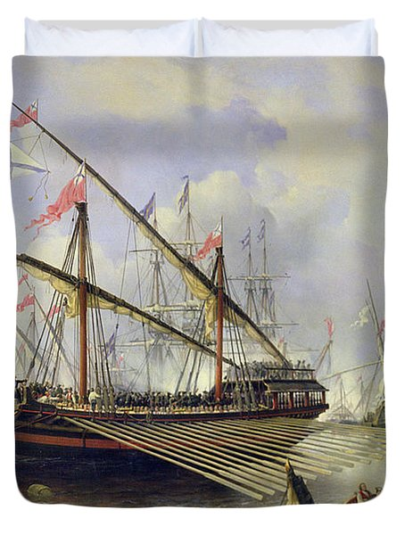 The Battle Of Grengham On 27th July 1720 Duvet Cover by Ferdinand Victor Perrot