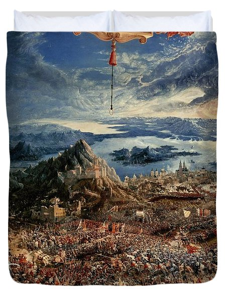 The Battle Of Issus Duvet Cover by Albrecht Altdorfer