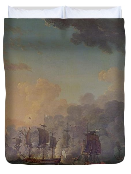 The Battle Of Louisbourg On The 21st July 1781 Duvet Cover by Auguste Rossel De Cercy