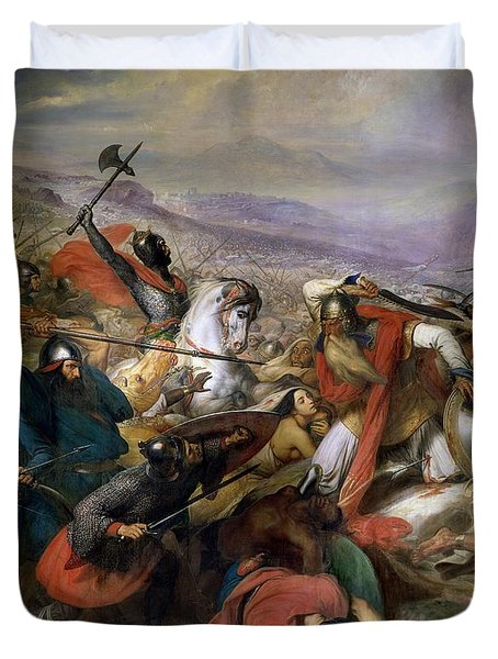 The Battle Of Poitiers Duvet Cover by Charles Auguste Steuben