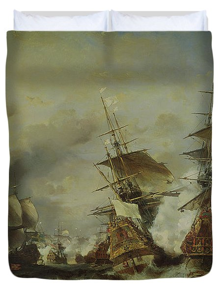 The Battle Of Texel Duvet Cover by Louis Eugene Gabriel Isabey