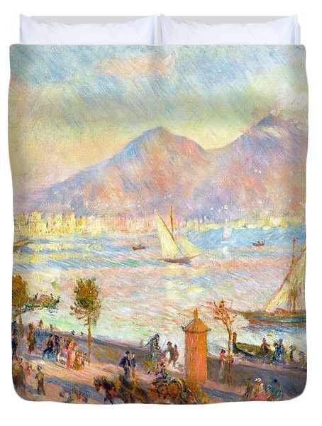 The Bay Of Naples With Vesuvius In The Background Duvet Cover by Pierre Auguste Renoir