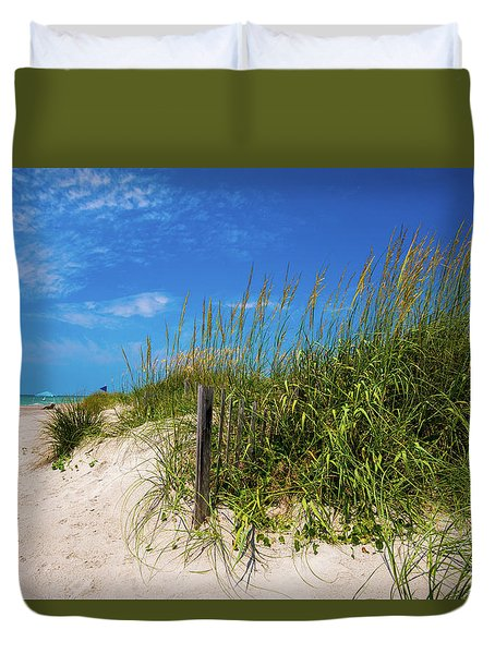 Duvet Cover featuring the photograph The Beach At Pine Knoll Shores by John Harding