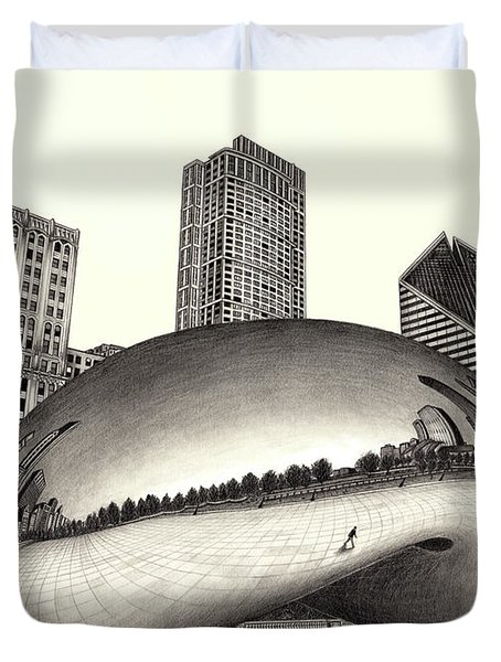 The Beach Chicago Drawing Duvet Cover