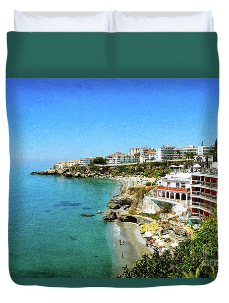 Duvet Cover featuring the photograph The Beach - Nerja Spain by Mary Machare