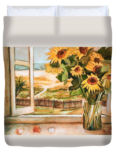 The Beach Sunflowers Duvet Cover