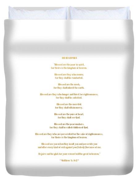 Duvet Cover featuring the digital art The Beatitudes Gospel Of Matthew by Rose Santuci-Sofranko