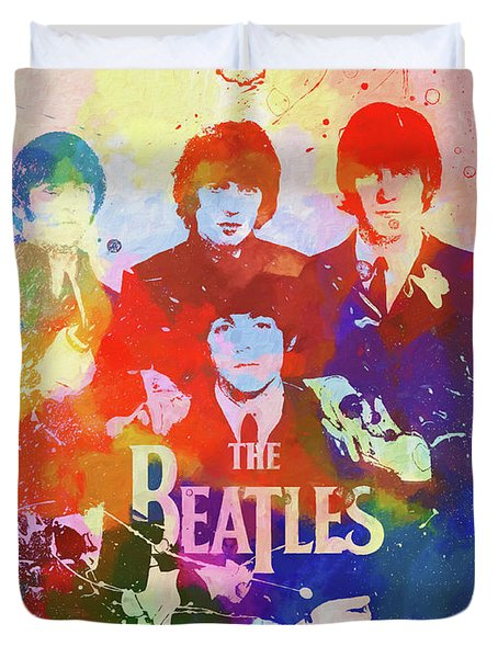 The Beatles Paint Splatter  Duvet Cover