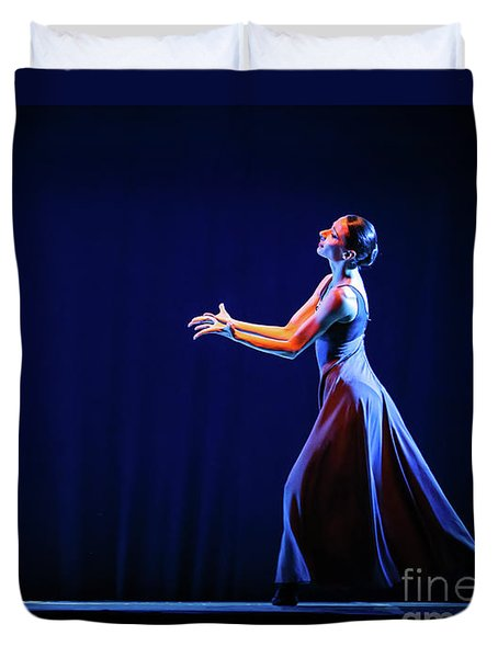 Duvet Cover featuring the photograph The Beautiful Ballerina Dancing In Blue Long Dress by Dimitar Hristov