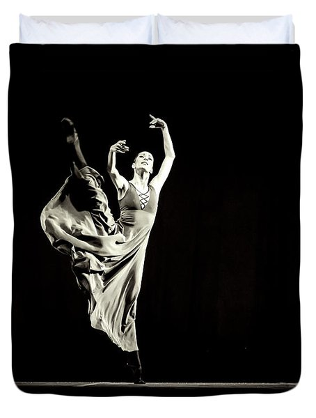 Duvet Cover featuring the photograph The Beautiful Ballerina Dancing In Long Dress by Dimitar Hristov