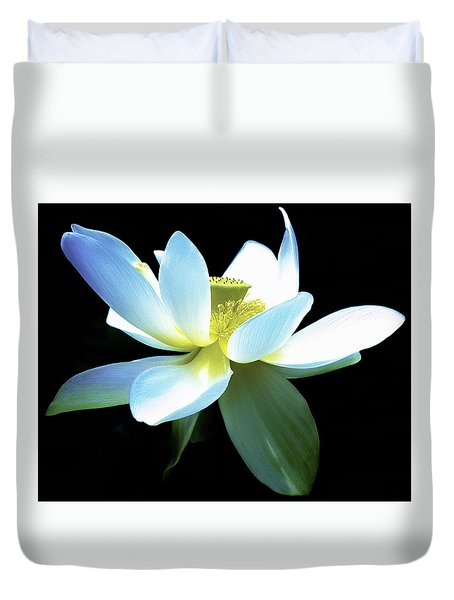 Duvet Cover featuring the photograph The Beauty Of A Lotus by Julie Palencia