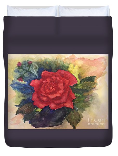 Duvet Cover featuring the painting The Beauty Of A Rose by Lucia Grilletto