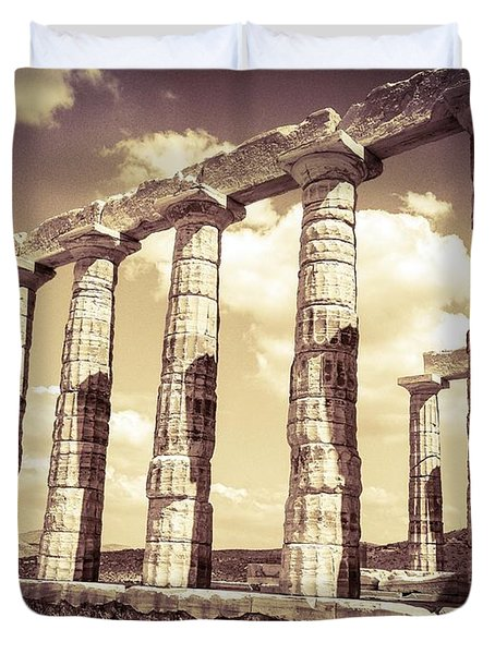 The Beauty Of The Temple Of Poseidon Duvet Cover